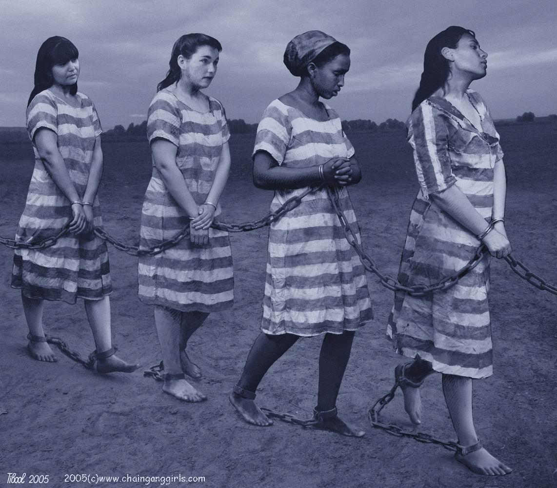 Naked slave girl chain gang